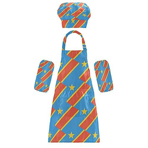 Kongo Kinshasa Flagge Kinder Schürzen Chef Hüte Ärmel Set Kinder Verstellbare Kochschürze mit Tasche zum Kochen, Backen, Malen, mehrfarbig, M