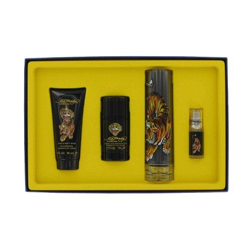 Ed Hardy By Christian Audigier -- Gift Set - 3.4 oz Eau DeToilette Spray + .25 oz Mni EDT Spray + 3 oz Shower Gel + 2.75 oz Deodorant Stick for Men (0.25 Ounce Cologne Spray)
