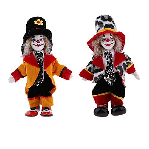 MagiDeal 2 Stück Lustige Stehende Porzellan Puppe mit Clown Kostüm, Ornament für Halloween Dekoration - #1