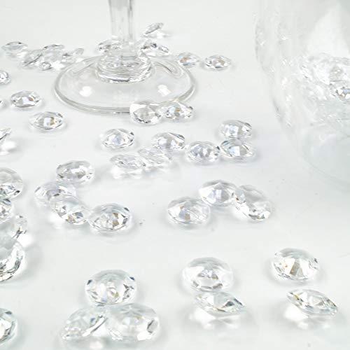 goodymax Deko-Diamanten 12 mm farblos/klar 100 Stück - Streudeko Deko Steine Kristalle Diamanten