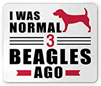 "10"" X 12""ビーグルマウスパッド、プレーンバックドロッププリントの子犬の犬の愛好家の愛情のレタリング、長方形の滑り止めのゴム製マウスパッド、標準サイズ、濃いピンクとチャコールグレー"