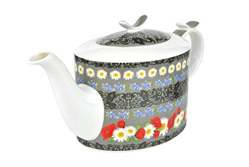 Jameson & Tailor Teekanne 1,4 L Diamantporzellan Gänseblümchen-Dekor Kanne