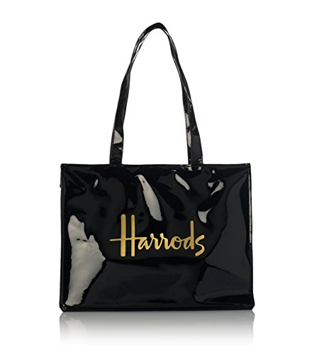 Harrods Signature Logo Tote Bag - Bolso al hombro para mujer Negro Negro H 29cm x W 38 cm x D 11 cm +/-