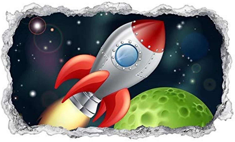 3D Wandtattoo Kinderzimmer Cartoon Weltraum Weltall Rakete ...