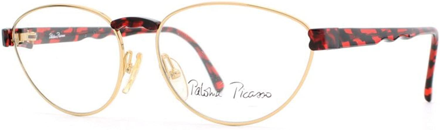 Paloma Picasso 3866 43 gold and Red Authentic Women Vintage Eyeglasses Frame
