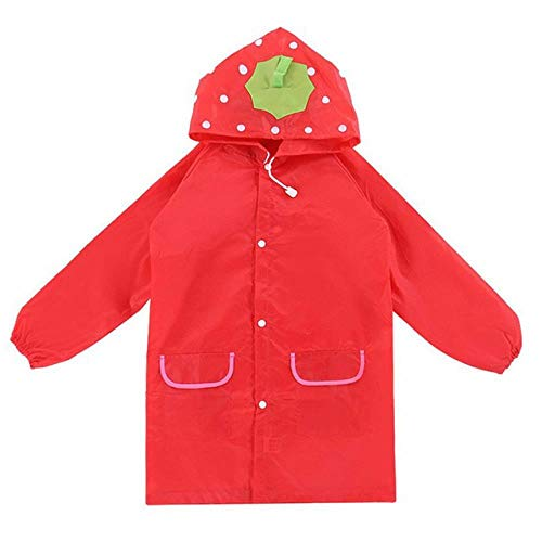 1PCS Children's cartoon raincoat Korean children's rain gear Cute baby poncho household goods playground Songkran Festival, red