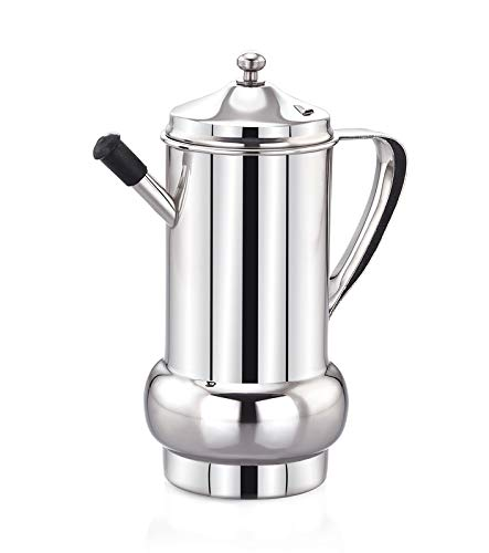 Expresso Creta Olive Oil Can Stainless Steel Oil Dispenser Pot Leak Proof Edible Oil Salad Dressing Storage with Lid for Kitchen Cooking Restaurant BBQ (1000ml)