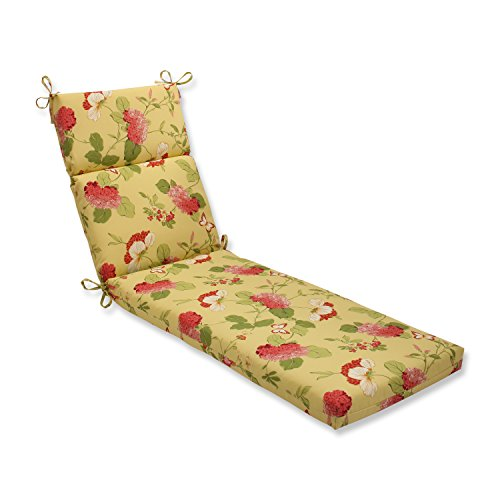 Pillow Perfect Outdoor/Indoor Risa Lemonade Chaise Lounge Cushion, 72.5 in. L X 21 in. W X 3 in. D, Gold
