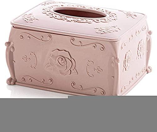 SXCDD Soporte de Caja de pañuelos Caja de pañuelos de plástico Caja de Almacenamiento Caja de Almacenamiento Organizador de Sala de Estar Portapositivo de Papel Contenedor Dispensador de Rosa Rosa