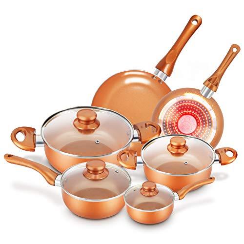 Cookware-Set Nonstick Pots and Pans-Set Copper Pan - KUTIME 10pcs Cookware Set Non-stick Frying Pan Ceramic Coating Stockpot, Cooking Pot, Copper Aluminum Pan with Lid, Gas Induction Compatible