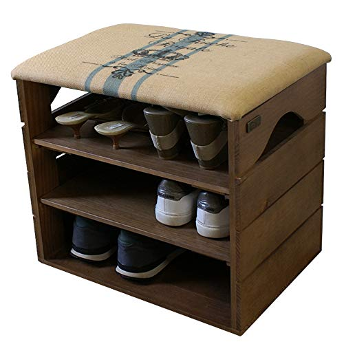 Liza Line® Schuhschrank aus Holz Schuhbank Schuhregal mit Gepolstertem Sitz und Textil beschichtet, Schrank für mehr Ordnung: Schuhe, Stiefel, Sneakers, Sandalen | umweltfreundlich