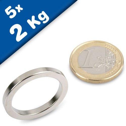 5 x Ringmagnet / Magnetring Ø 27/21 x 3 mm, Neodym N44, Nickel - hält 2 kg - starker Powermagnet/Supermagnet/Permanentmagnet mit extremer Haftkraft, für Kühlschrank, Magnet Glasboards, Magnettafel, Pinnwand, Whiteboard