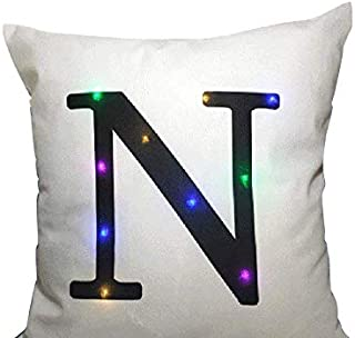 Sideli - Classic LED Decorative Cushion Cover Letter Cushion Cover 18 X 18 Inches (LED N)