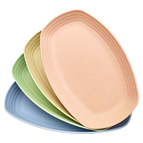 Unbreakable 11.4-Inch Wheat Straw Plastic Plate (Salad Plate/Spaghetti/Dinner Plate), Microwave/Dishwasher Safe, Environmentally Friendly, Bpa-Free, 4-Piece Colorful, Suitable For Children And Adults