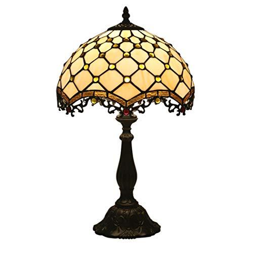12 Inch Tiffany Style Table Lamp Handmade glas in lood en Crystal Bead bureaulampen Antique Night Light Resin Base for Kids Woonkamer Slaapkamer
