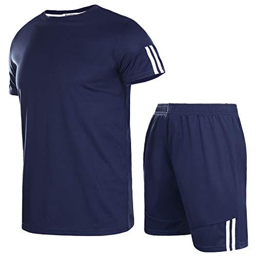 Aibrou Herren Kurzarm Sportswear Set Männer Schnell Trocknend Laufendes T-Shirt Trainingskleidung Jersey Fußball Set Navyblau XXL