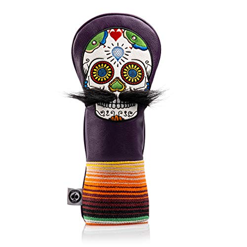 Pins & Aces LE Sugar Skull Mustache Fairway Wood Head Cover - Premium, Hand-Made Leather 3W or 5W Headcover - Funny, Tour Quality Golf Club Cover - Style and Customize Your Golf Bag (Purple)