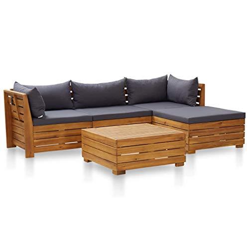 vidaXL Madera Acacia Muebles de Jardín 5 Pzas y Cojines Conjunto Exterior Patio Terraza Sofá Mesa Banco Butaca Asiento Gris Oscuro