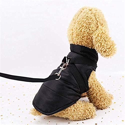 JIANWEI Impermeable Y Cálido Perro Jersey Cat Ropa Caída Aéreo Chaleco De Perro Vestimiento De Explosión con Cordón De Mano Pet (Negro)