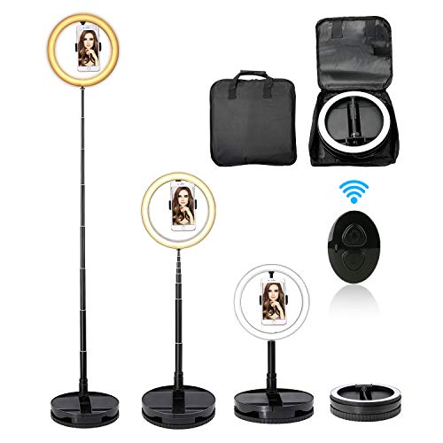 iEGrow Led Anello 10 Pollici USB Led Ring Light for Smartphone Foldable Selfie Ring Light with Stand and Bluetooth 3500-6000K 3 Color 10 Brightness for Fotografia Live Stream Youtube