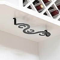 吊り下げワイングラスホルダー、キャビネット下の鉄製ワイングラス収納ラック、3/4/5/6ワイングラス、スパイラルゴブレットディスプレイラック(黒、白、ブロンズ)を収納可能
