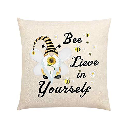Funda de almohada para muñecas sin rostro, diseño de abejas, diseño de gnomo, funda de cojín cuadrada para sofá, dormitorio, decoración del hogar (D, 1 unidad)