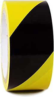 WOD SWT186 Marking Safety Warning Tape, Black & Yellow - 2 inch x 18 yds. High-Visibility For Walls, Floors, Equipment, Warehouse, Factories (Available in Multiple Sizes & Colors)