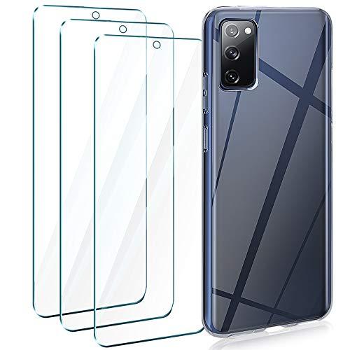 Leathlux Samsung Galaxy S20 FE 5G Hülle + [3 Stück] Panzerglas, Durchsichtig Case Transparent Silikon TPU Schutzhülle Premium 9H Gehärtetes Glas für Samsung Galaxy S20 Lite/ S20 FE 4G/ 5G