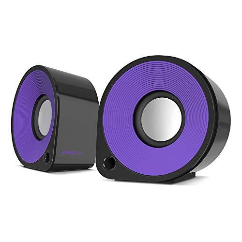 Speedlink Aktive Stereo-Lautsprecher - ELLIPZ Stereo Speakers USB (6W RMS Ausgangsleistung - Stufenloser Lautstärkeregler - Kabellänge 1m) Computer / Laptop schwarz-lila (Generalüberholt)
