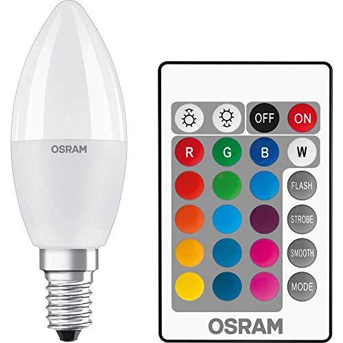 Osram LED Star+ Classic B RGBW Lampe, in Kerzenform mit E14 Sockel, dimmbarkeit und Farbsteuerung per Fernbedienung, Ersetzt 40 Watt, Warmweiß - 2700 Kelvin, 1er-Pack