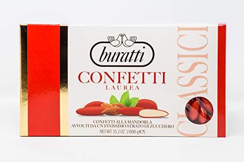 Buratti Confetti Dragées aux Amandes Mondées de Couleur Rouge 1 Kg