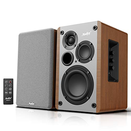 Moukey 4+2+1' 3-Way Powered Bluetooth 5.0 Bookshelf Speakers, 2.0 Stereo Active Near Field Studio Monitors, Wooden Enclosure, 50W RMS MA20-1
