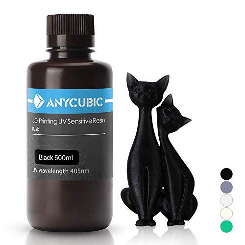 ANYCUBIC Stampate 3D UV Resina 405nm Fotopolimerica Rapida per Photon S Liquido 3D Resin Universale alta Precisione per Stampanti LCD/DLP/SLA 3D, 500ML Nero