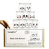 Langlee Set de 9 Vasos para Yogurtera, Vasos de Repuesto Tarros Cristal con Divertidas Emoticonos y Tapas, Tarro de Crema Postre Pudding Glass Jar (Capacidad: 100 ml)