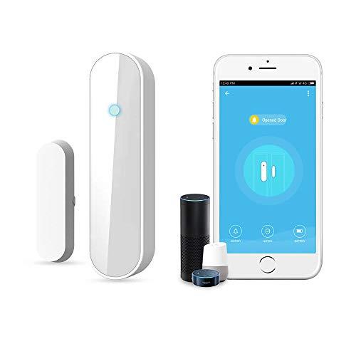 MxZas WiFi Smart-Tür-Fenster-Alarm-Tür-magnetischer Alarm Anti-Diebstahl-Alarm APP Fernüberwachung Türöffnung...