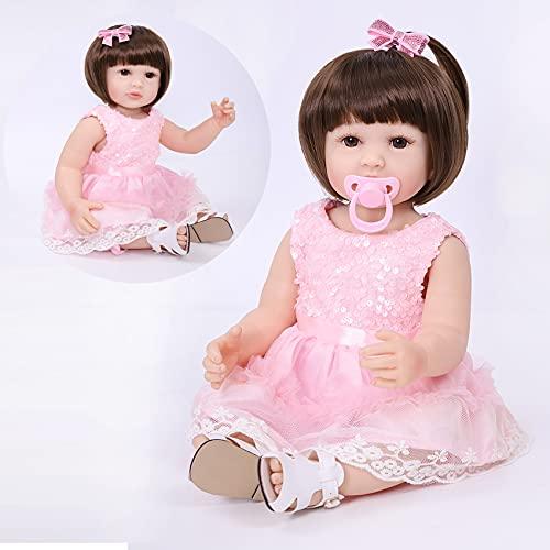 SYP Bambole Reborn Originali 22 Pollici 55 Cm Realistico Bambola Piena di Silicone Bambole Reborn Femmine Bambole Che Sembrano Vere Realistico Bambola Rosa Giocattolo per Bambini