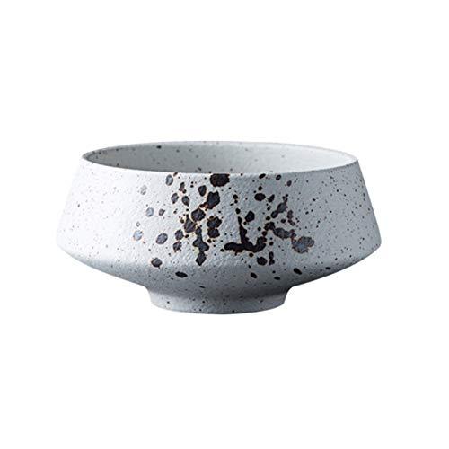 Juego de platos de postre de cerámica vintage para cocina, cuencos de cereales, cena/ensalada/aperitivo/plato de fruta, estilo japonés, plato de cerámica blanca, 7,6 cm