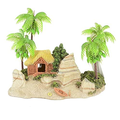 MJSHA Aquatic Style Beach Creative Fish Tank Landscaping Decoration Coconut Tree House Boat Beach Rockery Ornaments (7.8 * 4.7 * 5.9in)