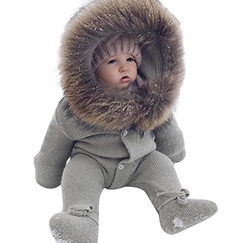 SOIMISS Mono para Bebés Niñas Mono Otoño Invierno Cálido de Algodón con Capucha Mullido Creepers para Bebés Chaqueta de Punto Abrigo con Capucha para Recién Nacidos 70Cm ()