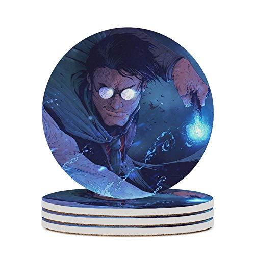 Los posavasos de cerámica H-arry P-Otter con base de corcho son respetuosos con el medio ambiente y no tóxicos (9,8 cm de diámetro) para mesas de comedor, escritorios, cafeterías, etc.