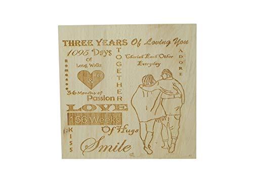 Pirantin - Adorno de pie de Tres años de Amor – 3er Aniversario sólido Pesado Decorativo