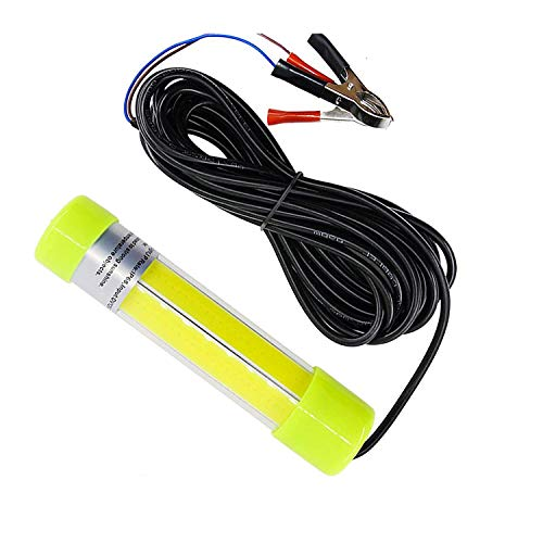 Underwater LED Fishing Light 20W 12V-24V Super Bright Lamp Submersible Deep Drop Night Fishing Light with 6M/6.6 yd Cord, Blue