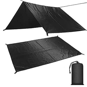 Waterproof Camping Tarp Hammock Rain Fly Camo Hammock Tarp 10 x 10 FT Rain Tarp for Camping Backpacking and Outdoor Adventure Lightweight and Portable Nylon Survival Shelter  Black