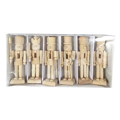 Ofanyia 6 Stücke Holz Nussknacker Soldat Figuren Ornamente Unlackiert Puppen Figuren Puppe Spielzeug Weihnachtsschmuck Home Party Weihnachtsdekor Geschenk
