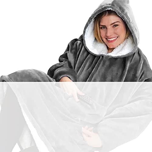 Tuopuda Hoodie Damen Herren Übergroße Decke Sweatshirt Pullover mit Kapuze Langarm Kapuzenpullover Langarmshirt Super Weiche Gemütliche Warme Riesen-Hoodie Pulli mit Kordel Taschen, grau One Size
