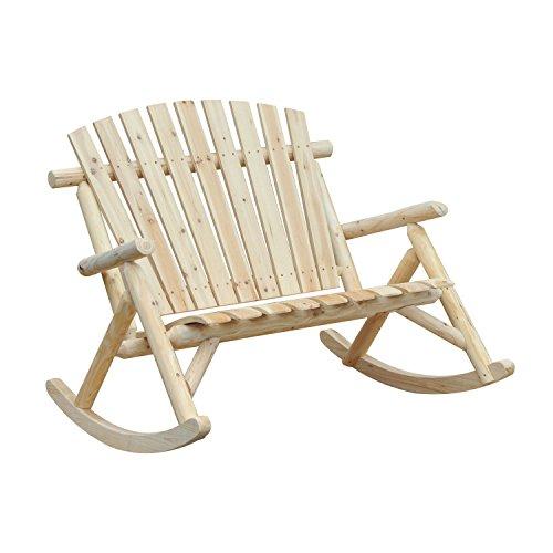 Outsunny Fauteuil de Jardin Adirondack à Bascule 2 Places Rocking Chair Style néo-rétro Assise Dossier Ergonomique Bois Naturel de pin