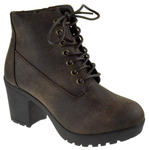 Forever Plus 12 Womens Chunky Heel Platform Side Zipper Booties Brown 10