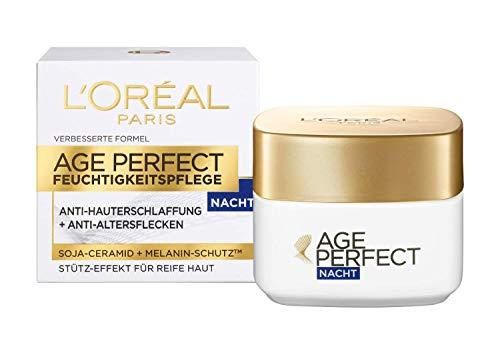 L'Oréal Paris Nachtpflege, Age Perfect, Anti-Aging Feuchtigkeitspflege, Stütz-Effekt und Anti-Altersflecken, Für reife Haut, Mit Soja-Ceramid und Melanin-Schutz, 50 ml
