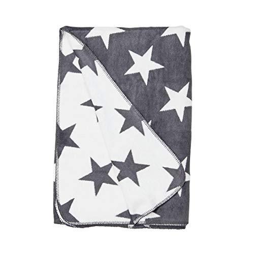 Butlers MACIO - Flanell-Decke Sterne 150x200 cm - Kuscheldecke in Grau-Weiß - auch als Sofadecke, Schlafdecke oder Tagesdecke geeignet