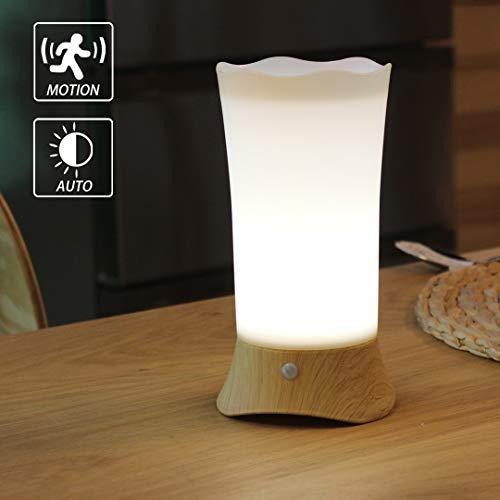 WRalwaysLX-Nachttischlampen, Tischlampe mit LED-Bewegungssensor-Nachtlicht, USE 3xAA-Batterie, betriebenes Licht zum Leben, Bett, Schlafzimmer, Badezimmer, Flur, Küche